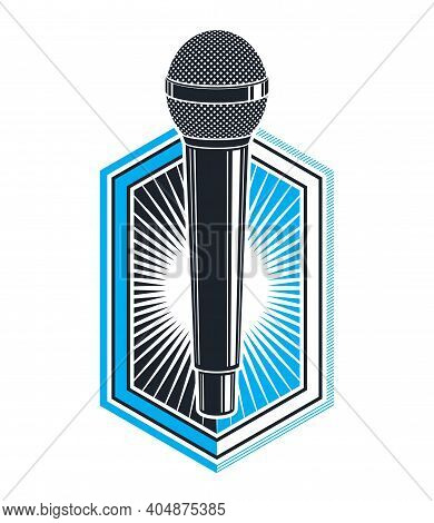 Microphone Vector Logo Or Emblem Isolated On White, Mc Rapper Or Rap Battle Concept, Stand Up Comic