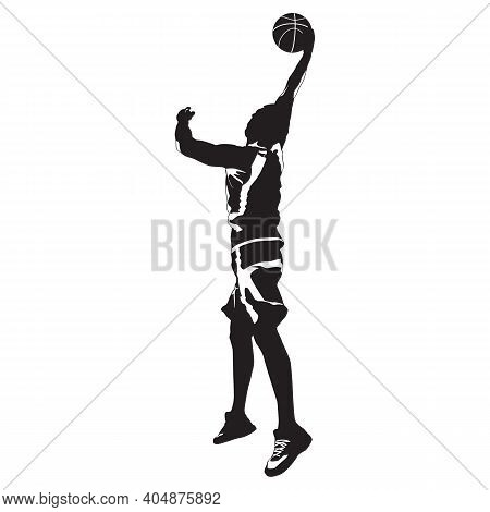 Slam Dunk. Basketball Shooting Technique. Young Man Athlete, Professional Basketball Player Silhouet