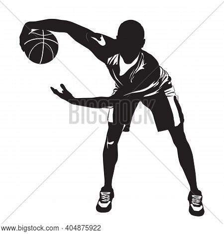 Basketball Dribbling Skills, Moves, Tricks. Athlete, Professional Basketball Player Silhouette With