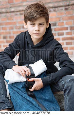 Schoolboy With School Backpack. Back To School. Teenagers Leisure