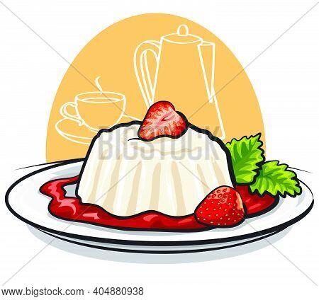 Illustration Of Milk Dessert Panna Cotta With Strawberry And Mint