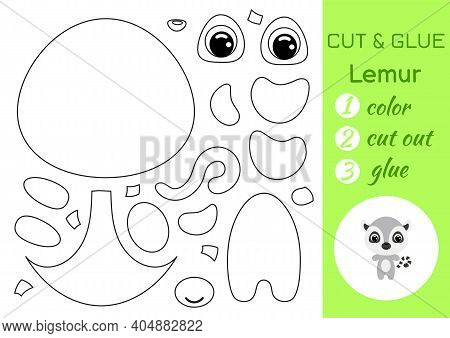 Coloring Book Cut And Glue Baby Lemur. Educational Paper Game For Preschool Children. Cut And Paste