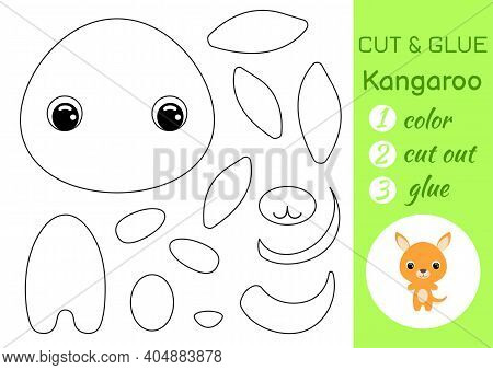Coloring Book Cut And Glue Baby Kangaroo. Educational Paper Game For Preschool Children. Cut And Pas