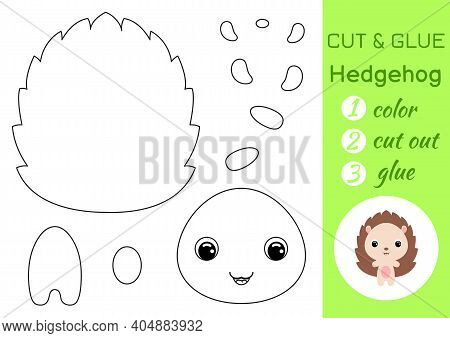 Coloring Book Cut And Glue Baby Hedgehog. Educational Paper Game For Preschool Children. Cut And Pas