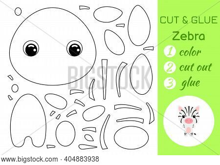 Coloring Book Cut And Glue Baby Zebra. Educational Paper Game For Preschool Children. Cut And Paste