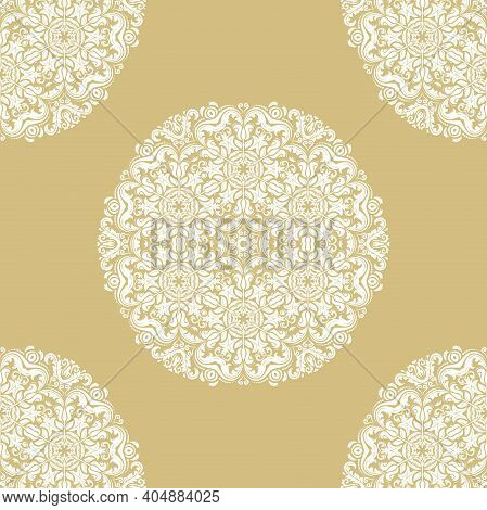 Orient Vector Classic Golden And White Pattern. Seamless Abstract Background With Vintage Elements.