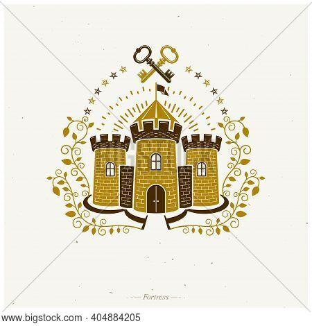 Ancient Fort Emblem. Heraldic Coat Of Arms Decorative Logo Isolated Vector Illustration. Retro Logot