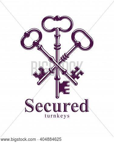 Crossed Keys, Vintage Antique Turnkeys Vector Logo Or Emblem, Protected Secret, Electronic Data Prot