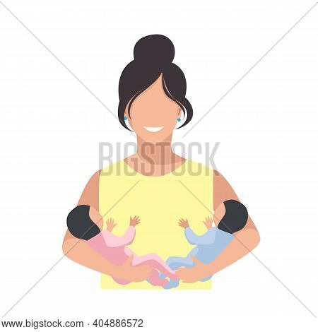 Happy Mother Holds Newborn Twins In Her Arms. Happy Twins Mom. Flat Vector Illustration Isolated On