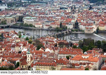 Prague, Czrch - April 24, 2012: This Is An Aerial View Of Old Districts Of The City.