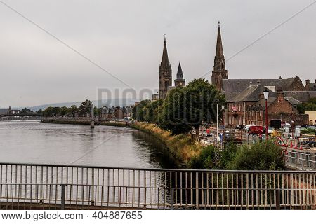 Inverness, Great Britain - September 12, 2014: This Is A View Of The Ness River And The Historical B