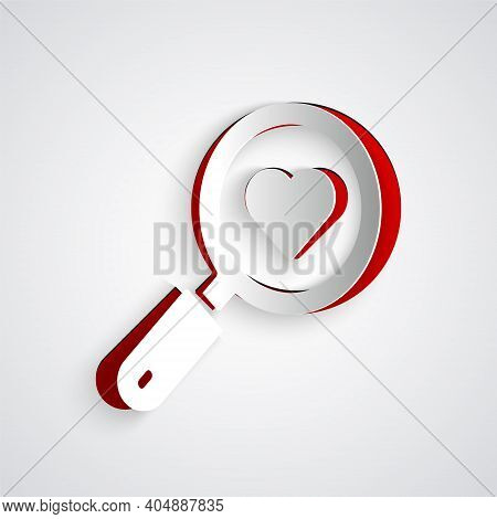 Paper Cut Search Heart And Love Icon Isolated On Grey Background. Magnifying Glass With Heart Inside