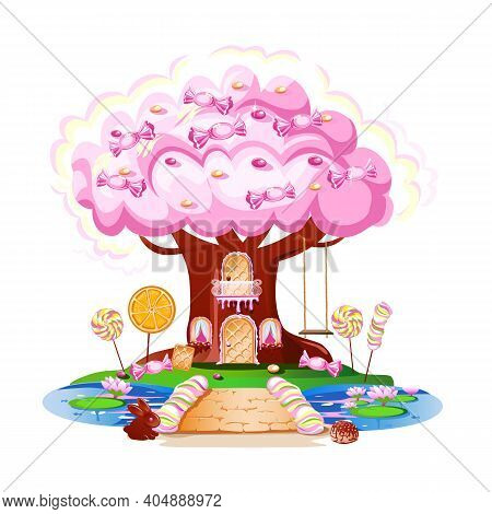 Fairy Tale House In A Candy Tree With A Door Made Of Waffles, Windows, A Balcony And A Swing. Fairy