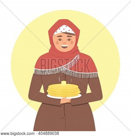 Russian Woman With A Stack Of Pancakes And A Piece Of Butter. A Woman In A Red Scarf. Yellow Circle