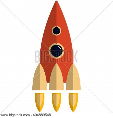 Space Rocket Icon, Flat Vector Isolated Illustration. Business Project Start Up, Spaceship Travel, S