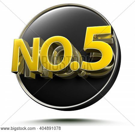 No.5 3D Rendering On White Background With Clipping Path.