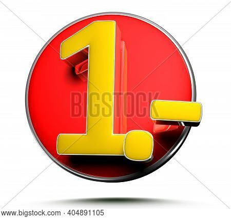 Number 1 Price Tag Isolated On White Background 3D Illustration With Clipping Path.