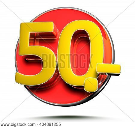 Number 50 Price Tag Isolated On White Background 3D Illustration With Clipping Path.
