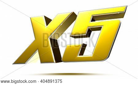 X5 Isolated On White Background Illustration 3d Rendering With Clipping Path.
