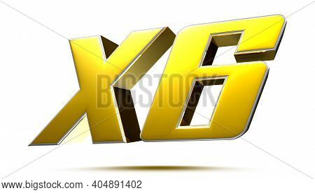 X6 Isolated On White Background Illustration 3d Rendering With Clipping Path.