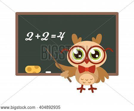 School Owl Near Blackboard. Cute Bird With Glasses Teaching Mathematics, Funny Joyful Bird Teacher,