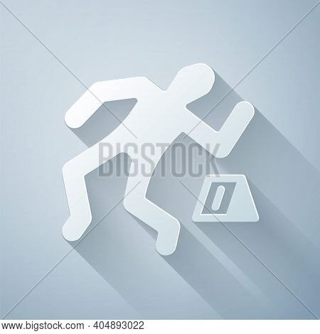 Paper Cut Crime Scene Icon Isolated On Grey Background. Paper Art Style. Vector