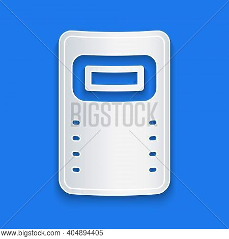Paper Cut Police Assault Shield Icon Isolated On Blue Background. Paper Art Style. Vector