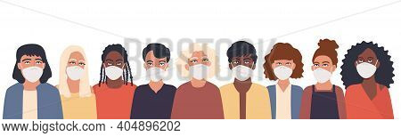 Group Of Men And Women In A Protective Mask. Collection Of Female And Male Characters Following Reco
