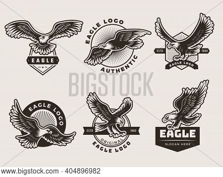 Eagles Emblem. Stylized Logotypes And Badges With Freedom Birds Wings Silhouettes Motorbike Recent V