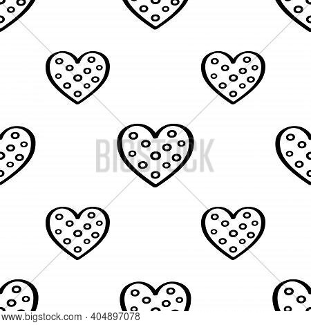 Hand Drawn Seamless Pattern With Hearts Is On White Background. Illustration For A Cover, A Poster O