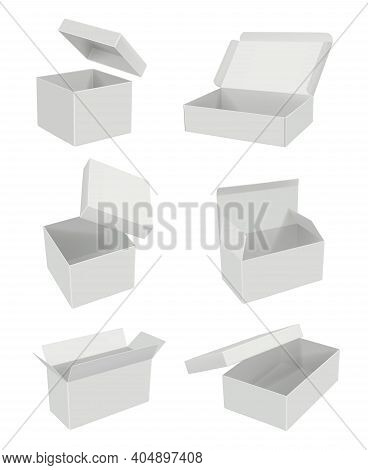 Opening Blank Boxes. Realistic Mockup White Cardboard Gift Packages Decent Vector 3d Set. Cardboard