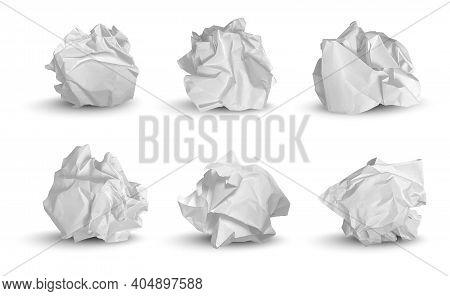 Crumpled Balls. 3d Garbage Paper Idea Notes Trash Symbols Decent Vector Realistic Pictures. Paper Ga