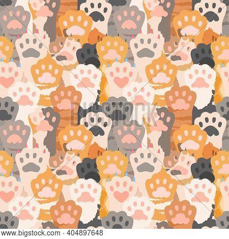 Cats Paw Pattern. Cute Kitten Foot Background. Pets, Wild Animal Vector Seamless Texture. Illustrati