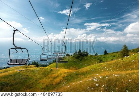 Mountain chairlift in Nevegal, Belluno, Italy.