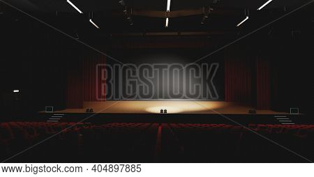 Theatre with empty stage in spotlight. Red theater curtain and seats. 3D illustration
