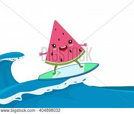 Summer Watermelon Surf. Funny Surfing, Happy Cartoon Fruit Swimming On Waves Vector Illustration. Su