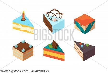 Cake Pieces. Delicious Isometric Sweets Tasty Food Birthday Glazed Gourmet Products Garish Vector Co