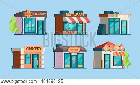 Urban Stores. Retail Shops In City Exterior Facade Front View Pharmacy Caffe Local Restaurant Garish