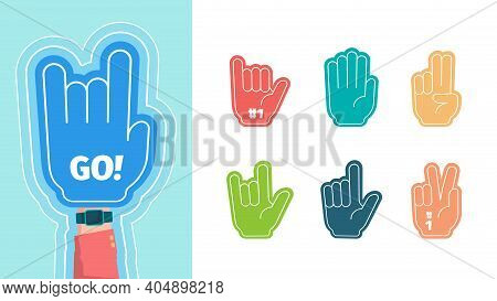 Fans Fingers. Hands Gestures For Stylized Cheering Gloves Victory Thumbs Up Two One Fingers Vector S