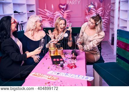 Jolly Female Colleagues Enjoying Their Office Party