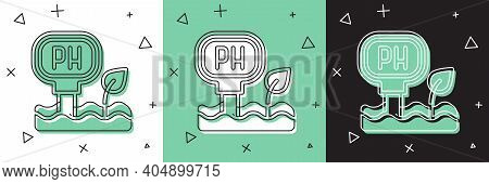 Set Soil Ph Testing Icon Isolated On White And Green, Black Background. Ph Earth Test. Vector