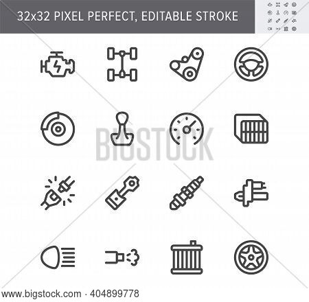 Transport Car Parts Simple Line Icons. Vector Illustration With Minimal Icon - Check Engine, Gearbox