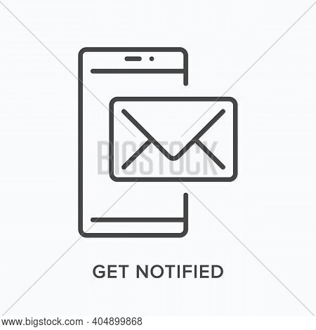 Phone Notification Flat Line Icon. Vector Outline Illustration Of Mobile Reminder. Black Thin Linear