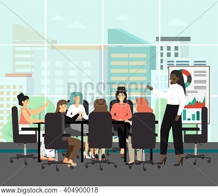 All Female Board With Black Chairwoman, Concept Vector Illustration. Board Of Directors Meeting With