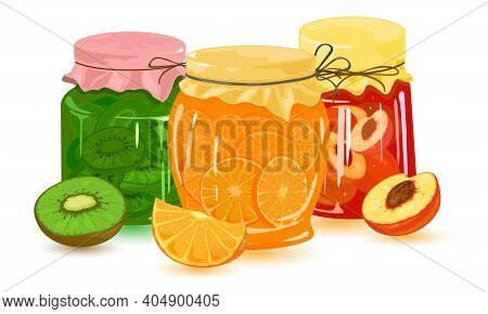 Collection Of Orange, Peach, Kiwi And Apricot Canned Jams. Vector Nutritious And Vitaminized Dessert
