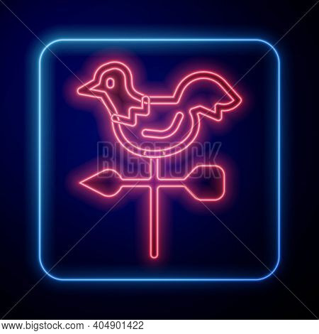 Glowing Neon Rooster Weather Vane Icon Isolated On Blue Background. Weathercock Sign. Windvane Roost