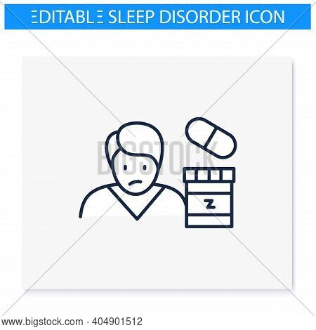 Sleep Pills Line Icon. Insomnia Treatment. Sleep Disorder. Healthy Sleeping Concept. Sleep Problems
