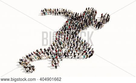 Concept or conceptual large community of people forming the image of a runner on white background. A 3d illustration metaphor for athlete, sprinter, marathon, competition, exercise and  health