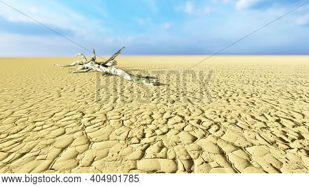 Concept or conceptual desert landscape with a parched tree trunck as a metaphor for global warming and climate change. A warning for the need to protect our environment and future 3d illustration
