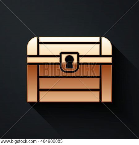Gold Antique Treasure Chest Icon Isolated On Black Background. Vintage Wooden Chest With Golden Coin